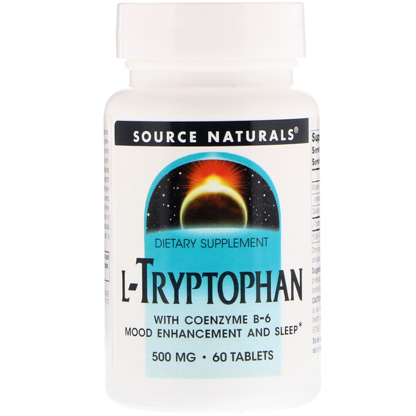 Source Naturals, L-Tryptophan with Coenzyme B-6, 500 mg, 60 Tablets