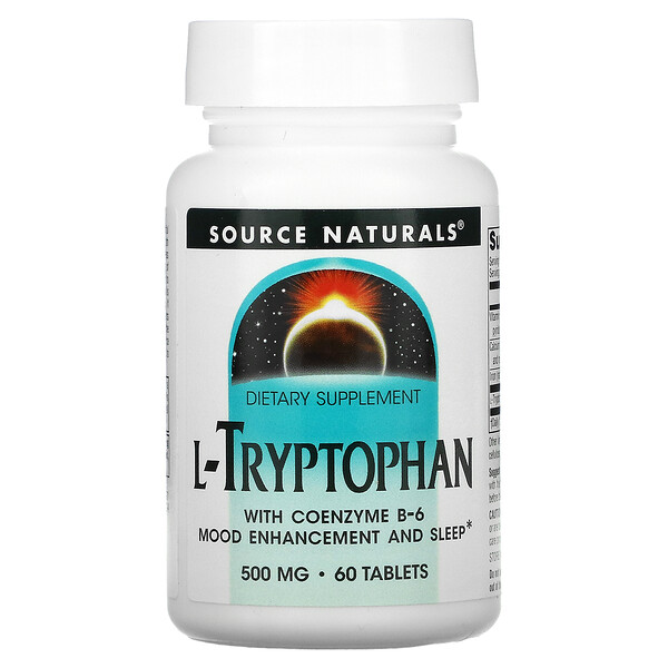 L-Tryptophan with Coenzyme B-6, 500 mg, 60 Tablets