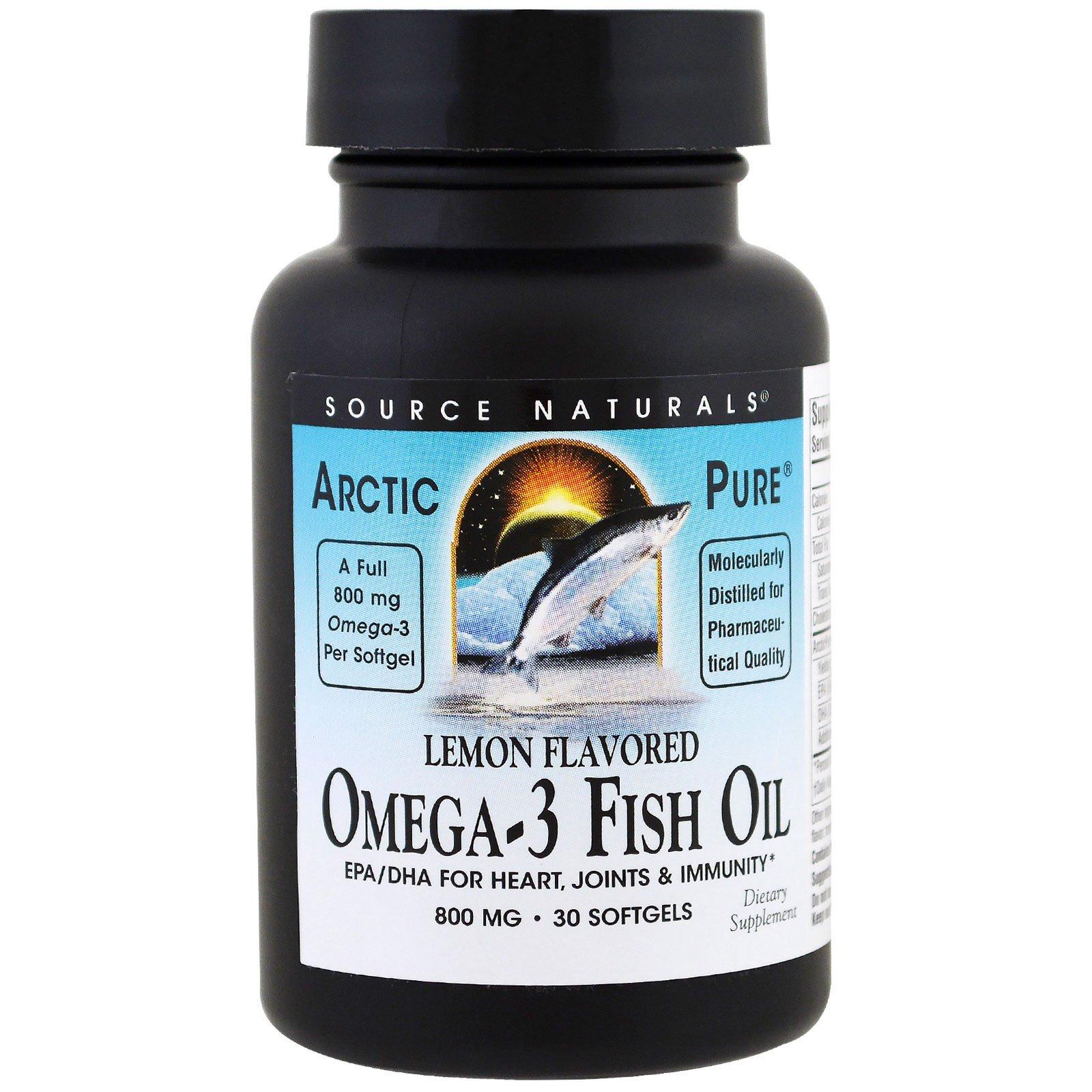 Source Naturals, ArcticPure, рыбий жир Омега-3, лимон, 800 мг , 30 мягких желатиновых капсул