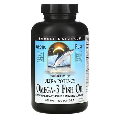 Купить Source Naturals Arctic Pure, омега-3 рыбий жир, повышенная эффективность, 850мг, 120мягких таблеток