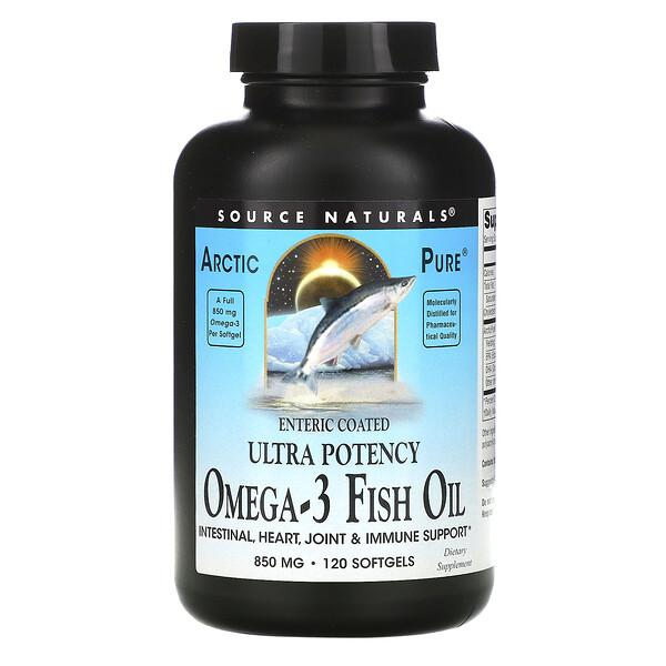 Arctic Pure,特高效,欧米伽 3 鱼油,850 毫克,120 粒软凝胶
