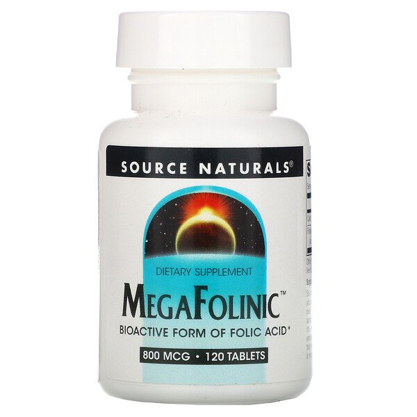 Source Naturals, MegaFolinic, 800 mcg, 120 Tablets