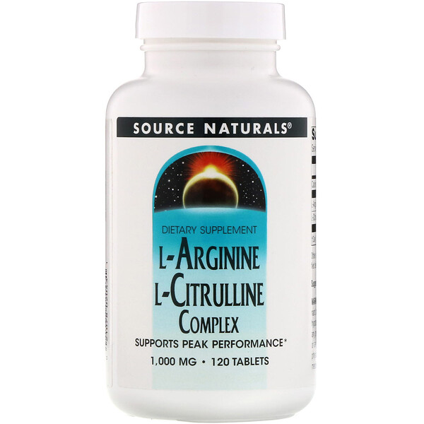 Source Naturals, L-Arginine L-Citrulline Complex, 1,000 mg, 120 Tablets