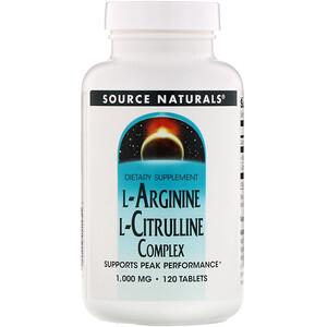 Сорс Начэралс, L-Arginine L-Citrulline Complex, 1,000 mg, 120 Tablets отзывы