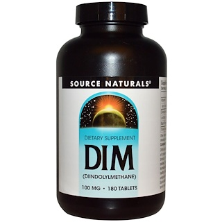 Source Naturals, DIM (Diindolylmethane), 100 mg, 180 Tablets