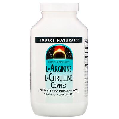 Купить Source Naturals Комплекс L-аргинина и L-цитруллина, 1000 мг, 240 таблеток