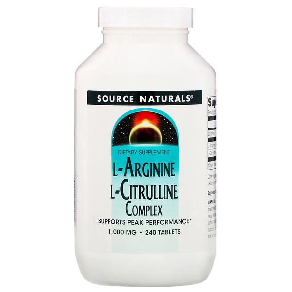 Source Naturals, إل-أرجانين إل-سيترولين، 1000 ملغم، 240 حبة