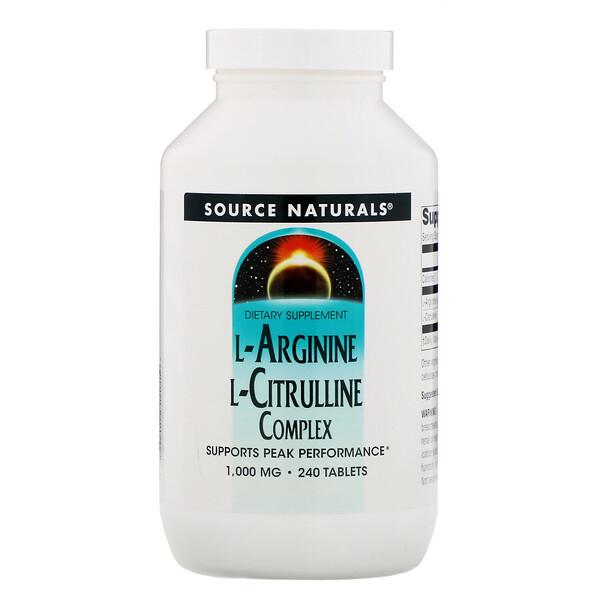 Source Naturals, L-Arginine L-Citrulline Complex, 1,000 mg, 240 Tablets