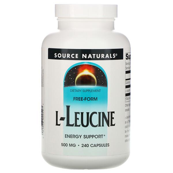 L-Leucine, 500 mg, 240 cápsulas