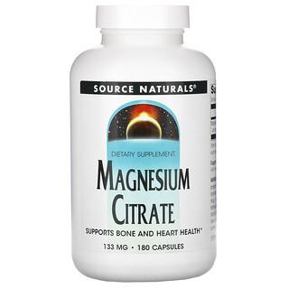 Source Naturals, Magnesiumzitrat, 133 mg, 180 Kapseln