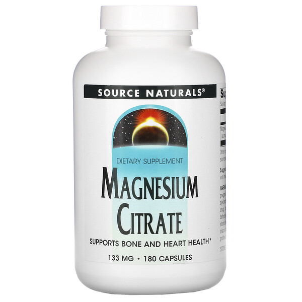 Source Naturals, Magnesium Citrate, 133 mg, 180 Capsules