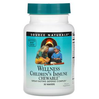 Source Naturals, Wellness, Children's Immune Chewable, Delicious Berry Flavor, 30 Wafers