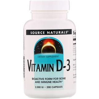 Source Naturals, Vitamin D-3, 2,000 IU, 200 Capsules