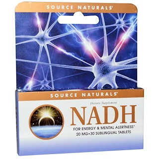 Source Naturals, NADH, 20 mg, 30 Comprimidos Sublinguais