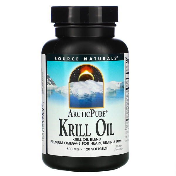Source Naturals, ArcticPure, Krill Oil, 500 mg, 120 Softgels