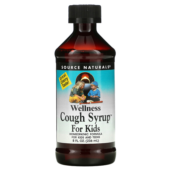 Wellness Jarabe para la tos para niños, Gran sabor a cereza, 8 fl oz (236 ml)