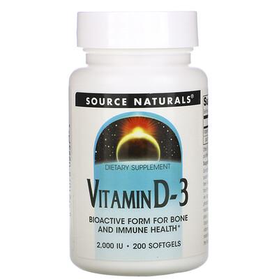 Source Naturals Витамин D-3, 2000 международных единиц, 200 мягких капсул  - купить со скидкой