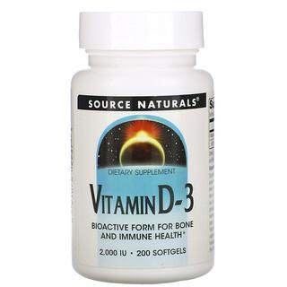 Source Naturals, Vitamin D-3, 2.000 IE, 200 weiche Gelkapseln