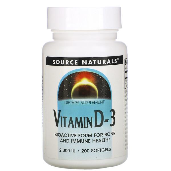 Vitamin D-3, 2,000 IU, 200 Softgels