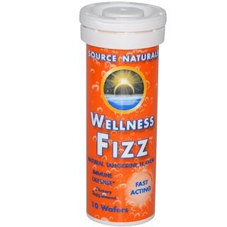Source Naturals, Wellness Fizz, с натуральным вкусом мандарина, 10 шипучих таблеток