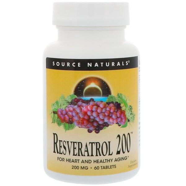 Source Naturals, Resveratrol 200, 200 mg, 60 Tablets (Discontinued Item)