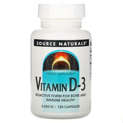 Купить Source Naturals Витамин D-3, 5, 000 МЕ, 120 капсул