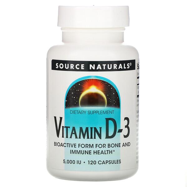 Vitamina D-3, 5.000 IU, 120 Cápsulas