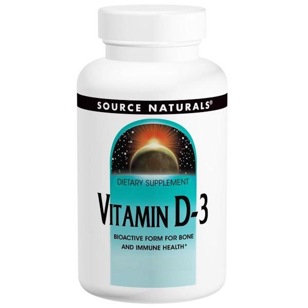 Source Naturals, Vitamin D-3, 5,000 IU, 120 Capsules