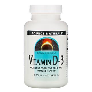Source Naturals, فيتامين د-3، 5,000 وحدة دولية، 240 كبسولة