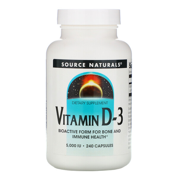 Vitamin D-3, 5,000 IU, 240 Capsules