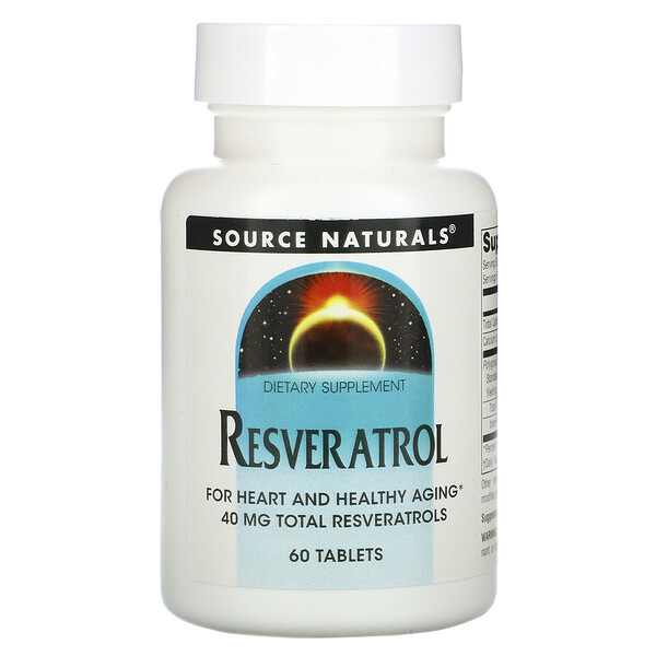 Source Naturals, 白藜蘆醇補充劑,40 毫克,60 片