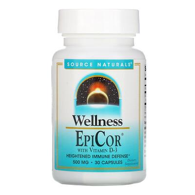 Купить Source Naturals Wellness, EpiCor with Vitamin D-3, 500 mg, 30 Capsules