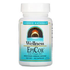 Source Naturals, Wellness,EpiCor,含維生素 D-3,500 毫克,30 粒膠囊