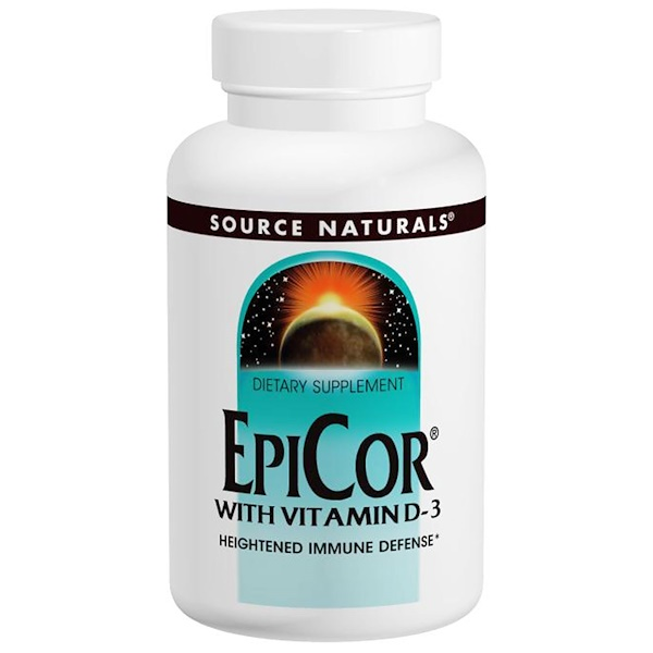 Source Naturals, EpiCor with Vitamin D-3, 500 mg, 30 Capsules