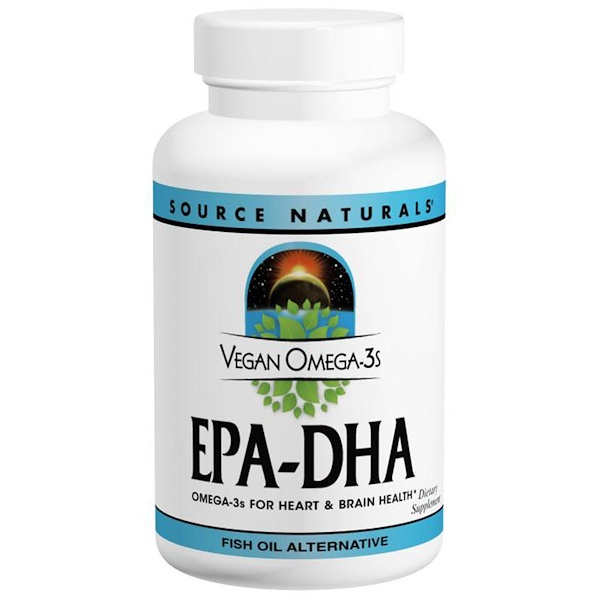 Source Naturals, Vegan Omega-3s EPA-DHA, 300 мг, 30 мягких таблеток