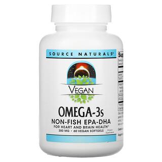 Source Naturals, Vegan Omega-3S, Non-Fish EPA-DHA, 300 mg, 60 Vegan Softgels