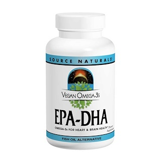 Source Naturals, Vegan Omega-3S, EPA-DHA, 300 mg, 60 Vegan Softgels