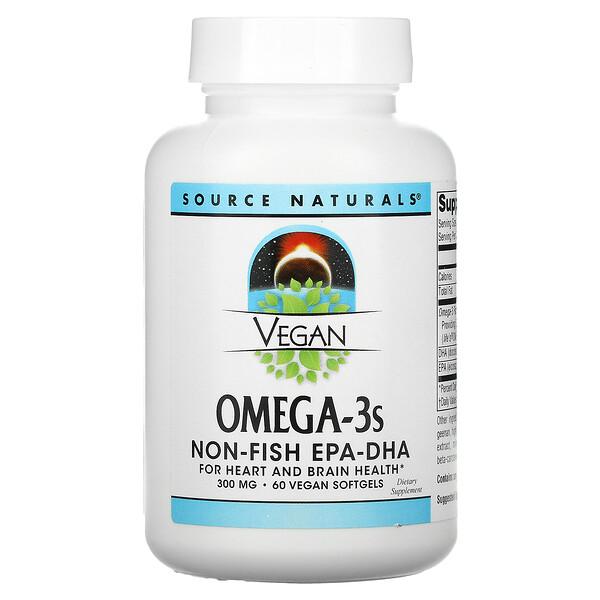 Vegan Omega-3S, Non-Fish EPA-DHA, 300 mg, 60 Vegan Softgels