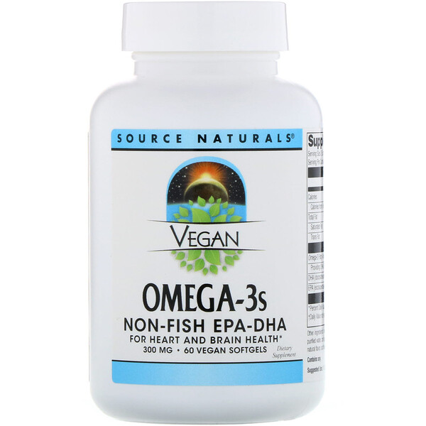 Vegan Omega-3S, Non-Fish EPA-DHA, 300 mg, 60 Vegan Softgels