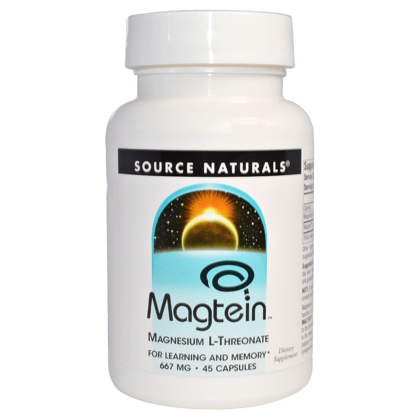 Source Naturals, Магтеин, магния L-треонат, 667 мг, 45 капсул