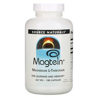 Source Naturals, Magtein, Magnesium L-Threonate, 667 mg, 180 Capsules
