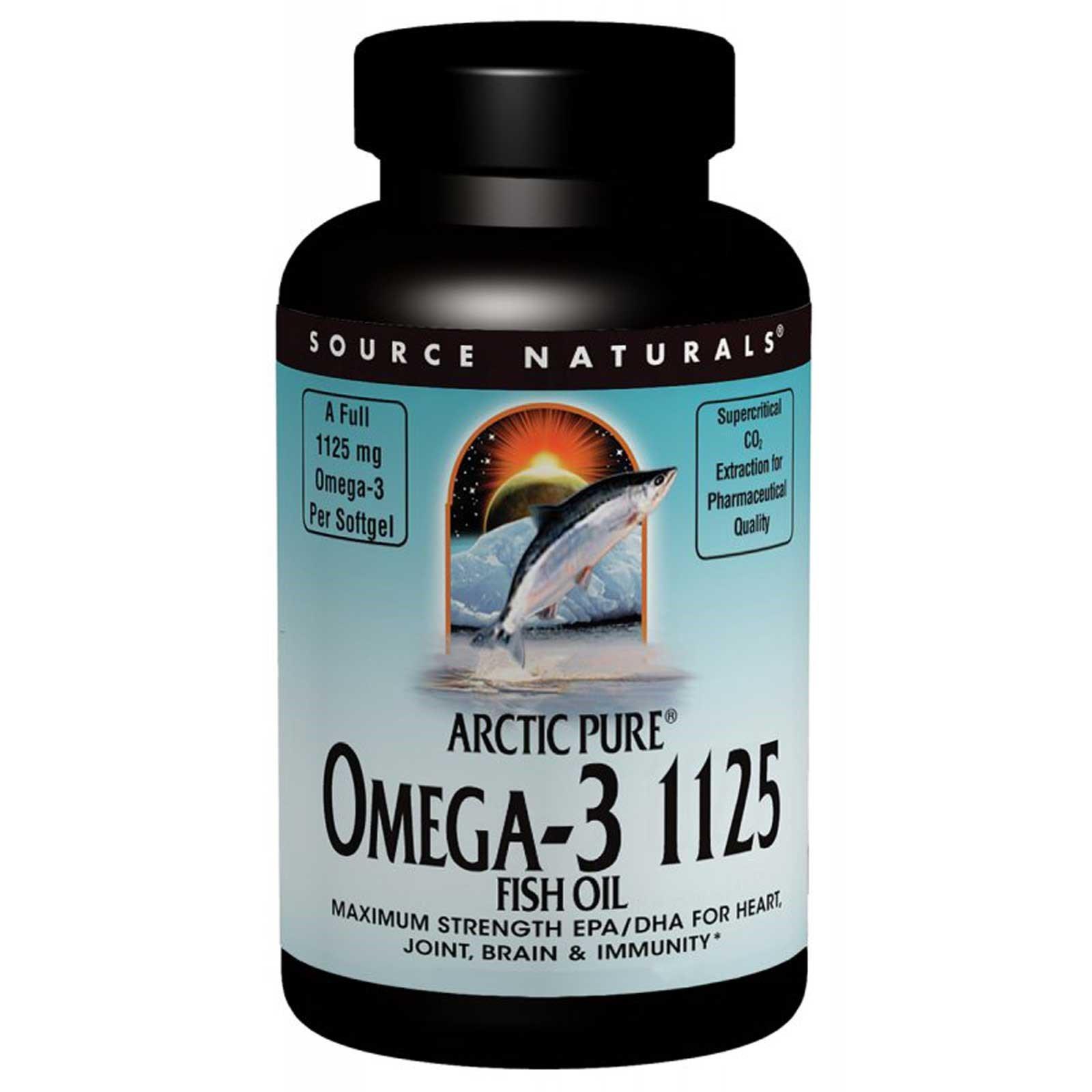 Source Naturals, Арктический чистый рыбий жир с Омега-3 1125, покрытый кишечнорастворимой оболочкой, 1,125 мг, 60 гелевых капсул