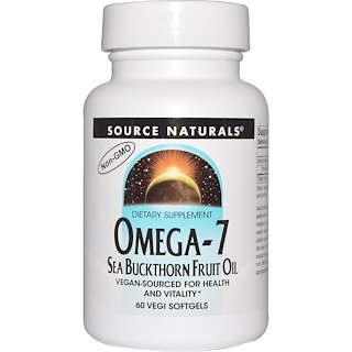 Source Naturals, Omega-7, Seabuckthorn Fruit Oil, 60 Vegi Softgels
