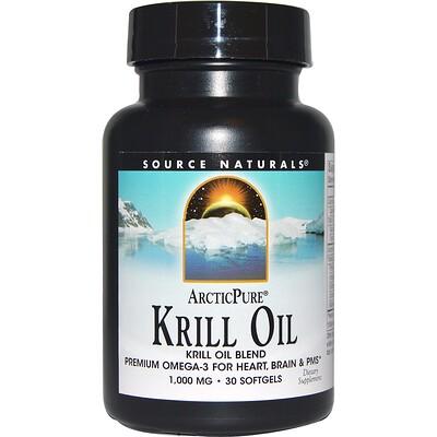 Купить Source Naturals Арктическая чистота, Масло морского криля, 1, 000 мг, 30 капсул