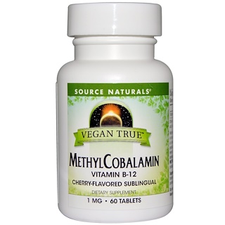 Source Naturals, Vegan True, MethylCobalamin, Cherry Flavor, 1 mg, 60 Sublingual Tablets