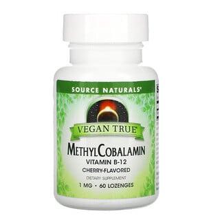 Source Naturals, Vegan True, MethylCobalamin Vitamin B-12, Cherry , 1 mg, 60 Lozenges