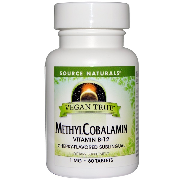 Vegan True, MethylCobalamin, Cherry Flavor, 1 mg, 60 Sublingual Tablets