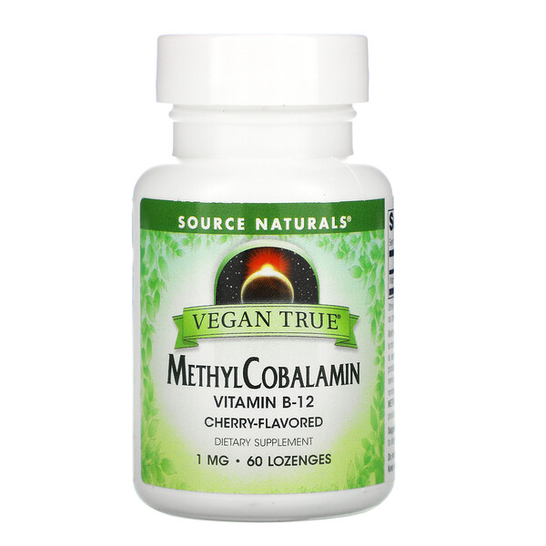 Source Naturals, Vegan True, MethylCobalamin Vitamin B-12, Cherry , 1 mg, 60 Lozenges
