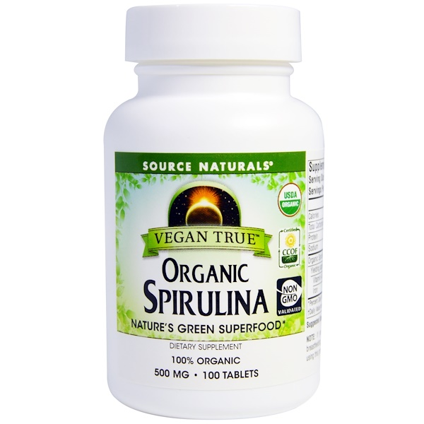 Source Naturals, Vegan True, Organic Spirulina, 500 mg, 100 Tablets (Discontinued Item)