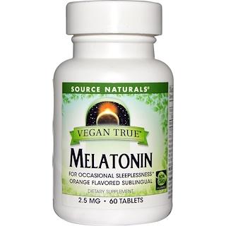 Source Naturals, Vegan True, Melatonin, Orange, 2.5 mg, 60 Tablets